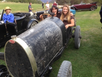 Chard Farm girls Mitch and Romy trying out a 1925 Bugatti racer